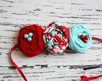 Baylee- red, aqua and white triple rosette headband