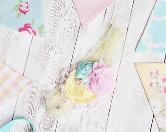 Tea Fleur Two -- pastel pink aqua and yellow headband or banner set