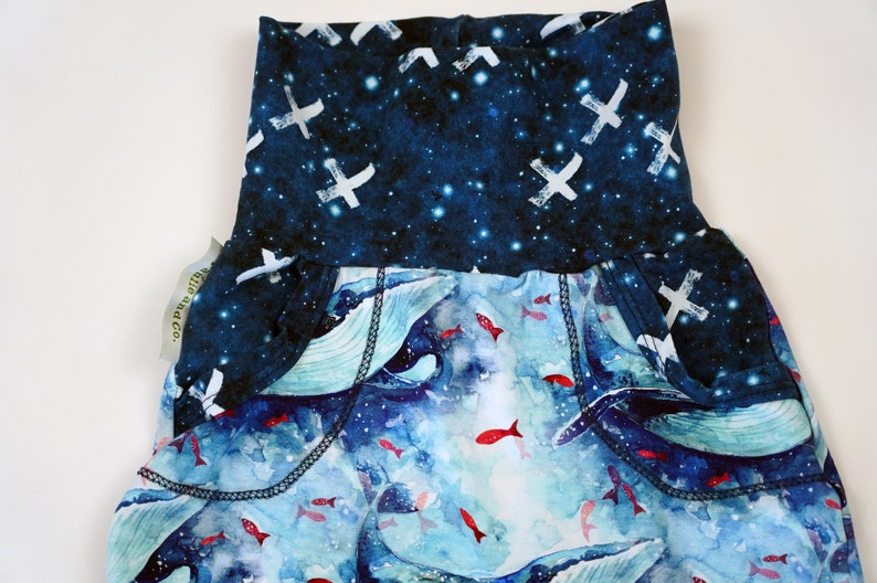 3T Whale Print Toddler Pants 12M Ocean Print Baby Leggings Toddler Whale Leggings Grow With Me Whale Pants