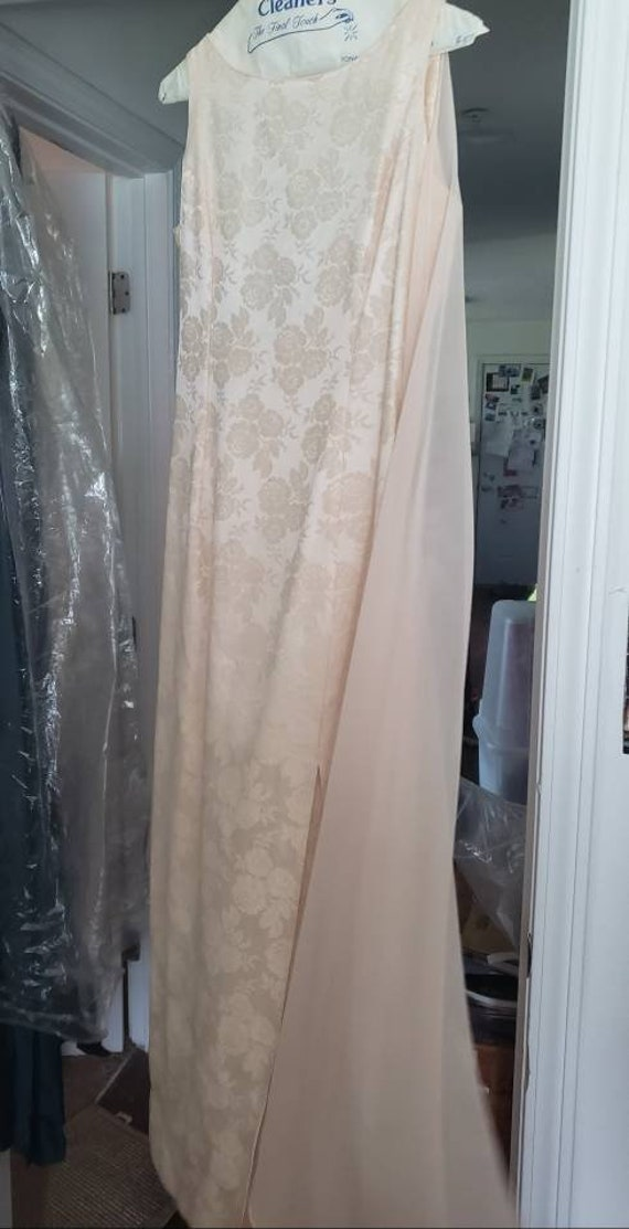 Vintage Pale Pink Jessica McClintock Brocade Gown
