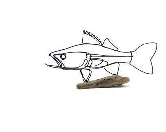 Walleye Sculpture, Wire Fish on Driftwood Base, Minimal Line Wire Art