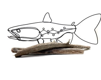 TrophyTrout Art, Fish Wire Sculpture, Keeper Trout, Fly Fishing Gift!