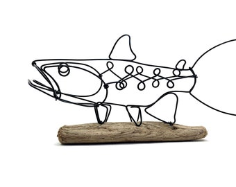 Trout Art, Fish Wire Sculpture with Driftwood Base, Cabin Decor Art, Unique Gift!