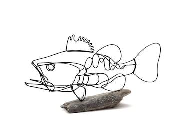 Bass Metal Sculpture, Fish Wire Art, Minimalist Design, Unique Gift!
