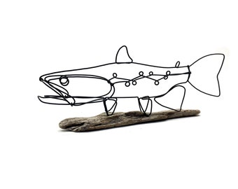 Trout Art, Trout Sculpture, Fish Wire Art,  Fly Fisher Gift!
