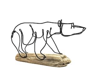 Bear Cub Wire Sculpture, Bear Art, Minimal Wire Sculpture