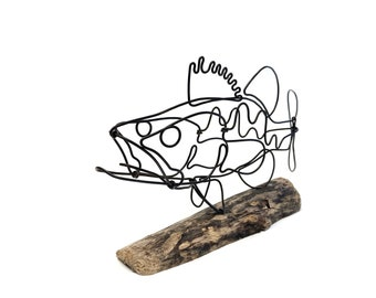 Large Mouth Bass Wire Sculpture, Fish Wire Art, Minimal Design Art, Wire Art