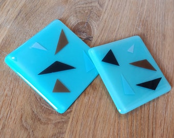 Turquoise Terrazzo Style Glass Coaster with Colourful Triangles in Blue, Pink, Black and Brown. Handmade in Nottinghamshire Made in England