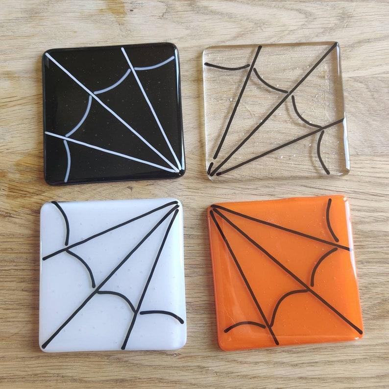 Spider Web Glass Coaster Orange Black White Clear Silk Spin image 1