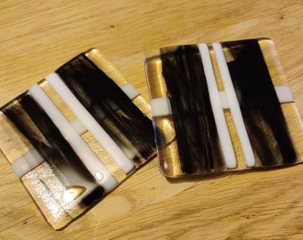 Perpendicular White and Clear Stripes with Smoky Black Glass Coaster