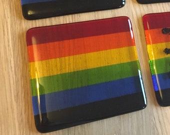 Gay Pride Rainbow Flag Handmade Glass Coaster. LGBTQ, lesbian, homosexual, NHS, queer, bright colours, drag, bisexual, stripes, riot, parade