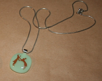 Wildlife Silhouette Printed Glass Necklace