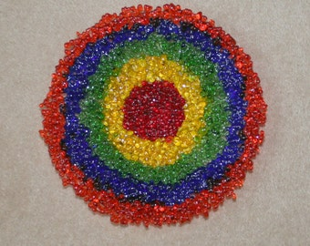 Textured Multi Coloured Glass Target Bowl - Made to order with any colours