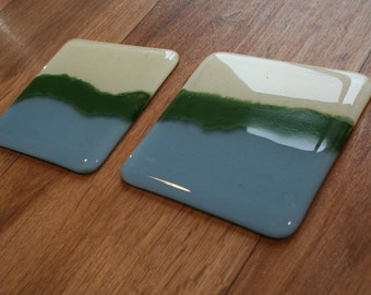 Landscape Coaster - Cream, Powder Blue and Green Enamel