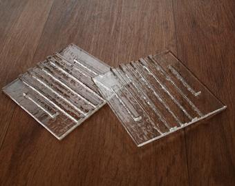 Crystal Clear Raised 3D Stripe Coaster