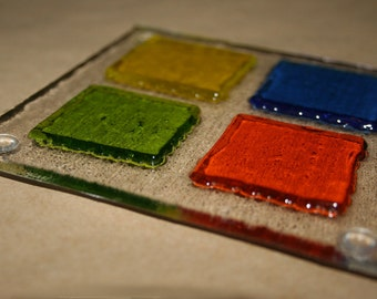 3D Raised Square Glass Coasters - Multicoloured