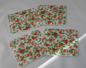 Holly Leaves and Berries Printed Coaster