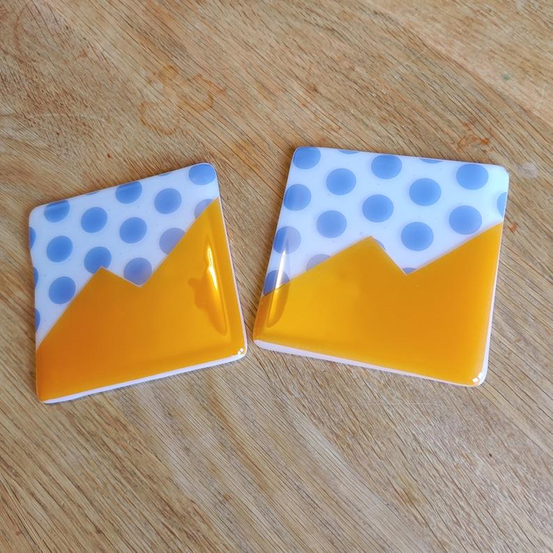 Blue Polkadots and Orange Abstract Coaster  Striking Bold image 0