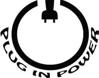 Plug In Power Button  -Electric Car Vinyl Decal Sticker