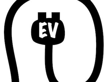 EV Plug Cord-Electric Car Vinyl Decal Sticker
