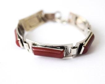 SALE- Antique Art Deco Bracelet With Carnelian Glass Stones c.1920s