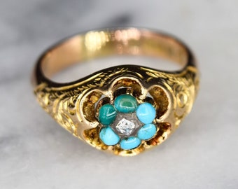 Antique 15k Gold Ring With Turquoise and Rose Cut Diamond Hallmarked Chester 1921