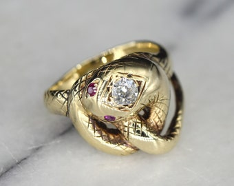 Antique Victorian Snake Ring 14k Gold with .25 Old Mine Cut Diamond and Ruby Eyes c.1880