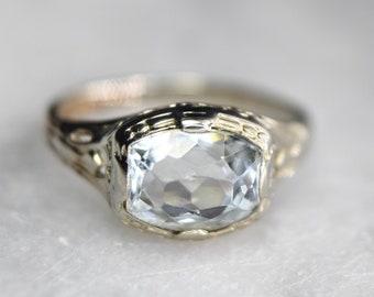 Antique Art Deco 14k White Gold Cushion Cut Aquamarine Ring Size 5