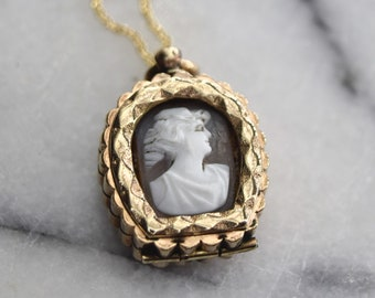 Antique Locket Gold Filled Cameo and Knights of Pythias Pendant