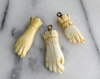Antique Victorian Mano Figa Pendant Carved Bone