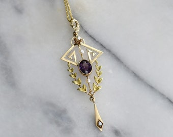 Antique 10k Gold Lavaliere Charm with Amethyst and Pearls c.1910