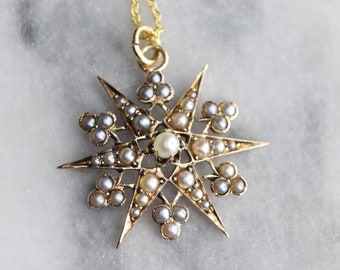 Antique Victorian 14k Gold Starburst Charm with Pearls