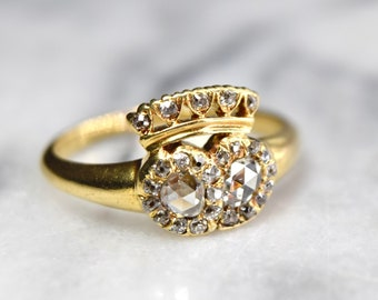 Antique Victorian Crowned Heart Diamond Ring 18k Gold with Rose Cut Diamonds