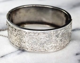 Antique Victorian Sterling Silver Hinged Bangle Bracelet With Engraved Ivy Leaves
