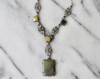 Antique Art Deco Necklace Sterling Silver Sodalite and Marcasite c.1920