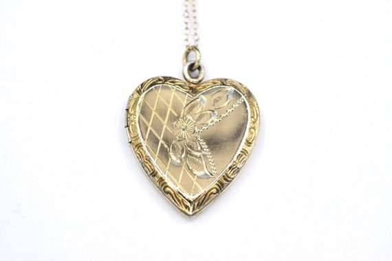 Vintage Heart Locket / Gold Filled Sterling Silver