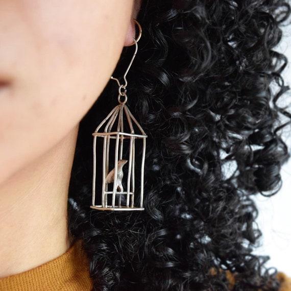 Vintage Sterling Silver Bird Cage Earrings