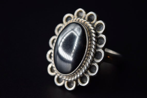 Vintage Mexican Sterling Silver Hematite Ring