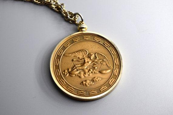 Vintage Zodiac Pendant / Libra Horoscope Necklace