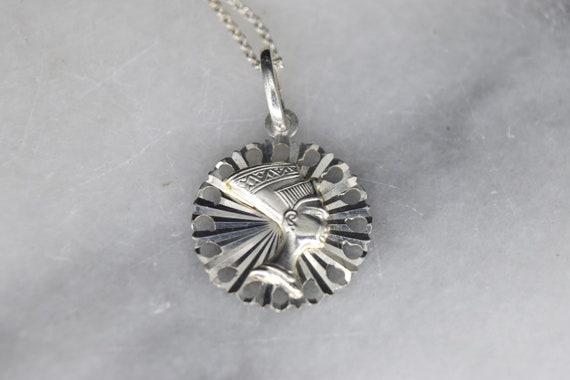 Vintage Sterling Silver Nefertiti Charm Necklace