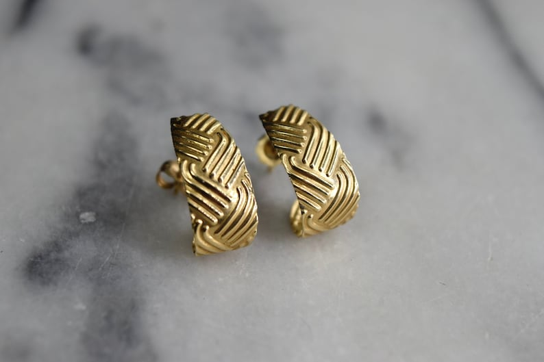 Vintage 14k Gold Textured Earrings c.1990s