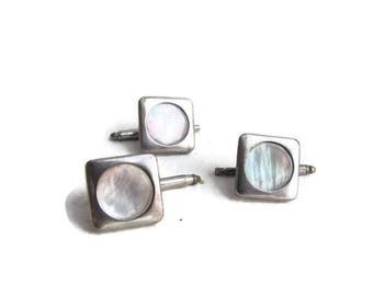 Vintage Silver Mother Of Pearl Cuff Linksc.1960s