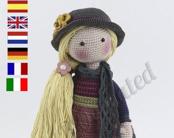 Crochet Pattern for Doll FREYA, pdf (Deutsch, English, Français, Nederlands, Español, Italiano)