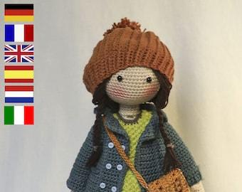 Crochet Pattern for Doll JULIE, pdf (Deutsch, English, Français, Nederlands, Español, Italiano)