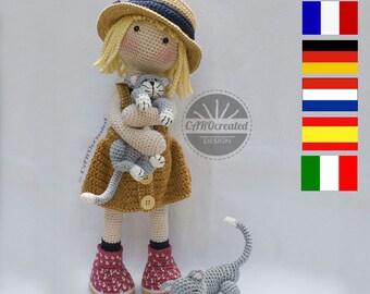 Crochet Pattern for Doll TESSA, pdf (Deutsch, English, Français, Nederlands, Español, Italiano)