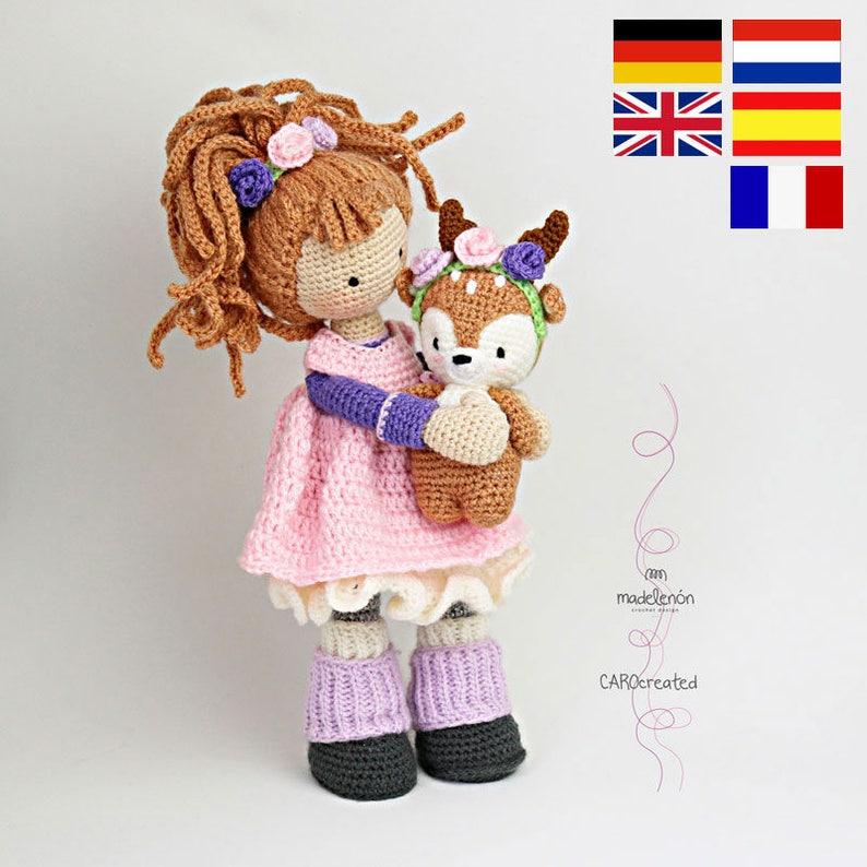 Crochet pattern for doll MIA & deer LAYLA Deutsch English image 0