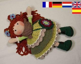 Crochet pattern for doll ELLIE, pdf  (Deutsch, English, Nederlands, Español, Français)
