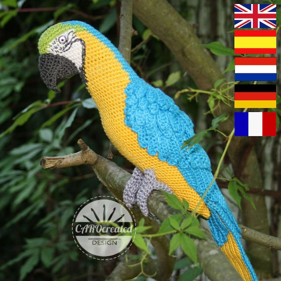 Amigurumi Blue And Yellow Macaw Parrot Crochet Pattern Pdf Etsy