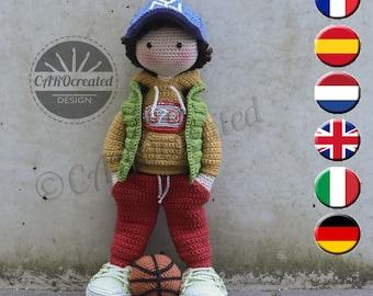 Crochet Pattern for Doll JONTE, pdf (Deutsch, English, Français, Nederlands, Español, Italiano)