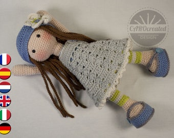 Crochet pattern for doll LILLY (Deutsch, English, French, Nederlands, Español, Italiano)